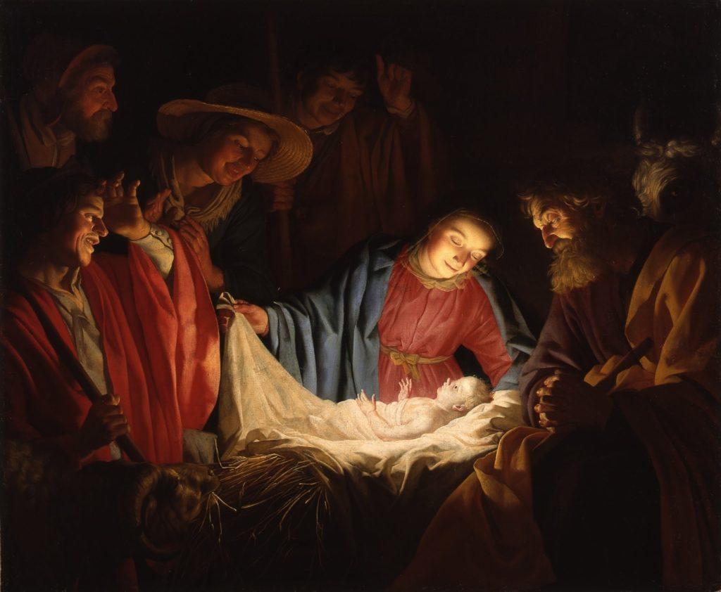 pictură:  Adorarea păstorilor de Gerard van Honthorst
